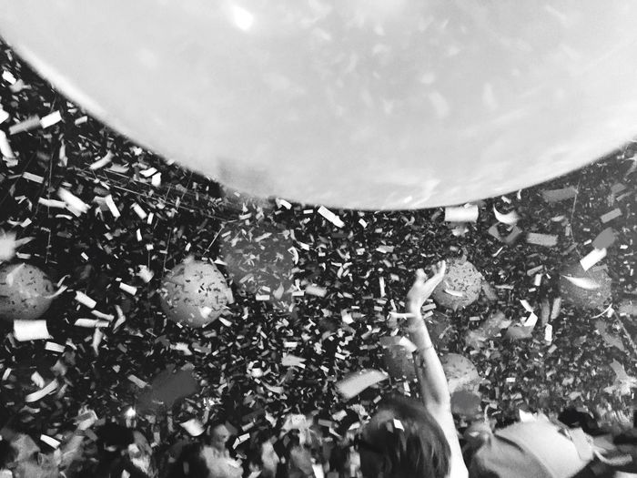 Balloons Confetti Gig Live Music Crowd Enjoyment Excitement Fun Atmosphere Phycodelic Arms Raised Giant Balloons People Magical
