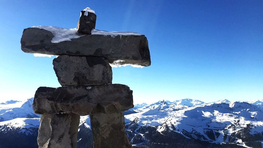 """Stand for something greater then yourself."" Snow Cold Temperature Nature Mountain Winter Outdoors Clear Sky Snowcapped Mountain Beauty In Nature Blue Sky Statue Rocks Inukshuk Beautiful Adventure Skiing Landscape Panoramic Tranquility Peak Peace The Week On EyeEm"