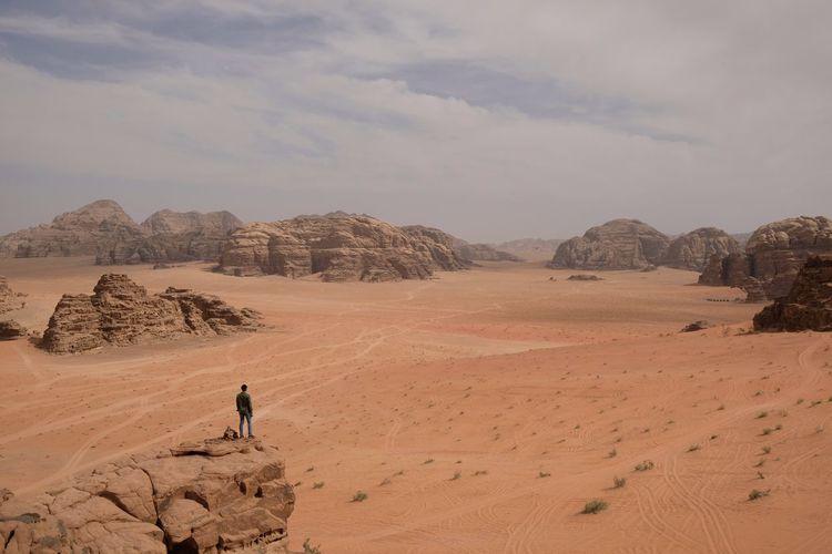 View of amazing wadi rum desert national park - jordan