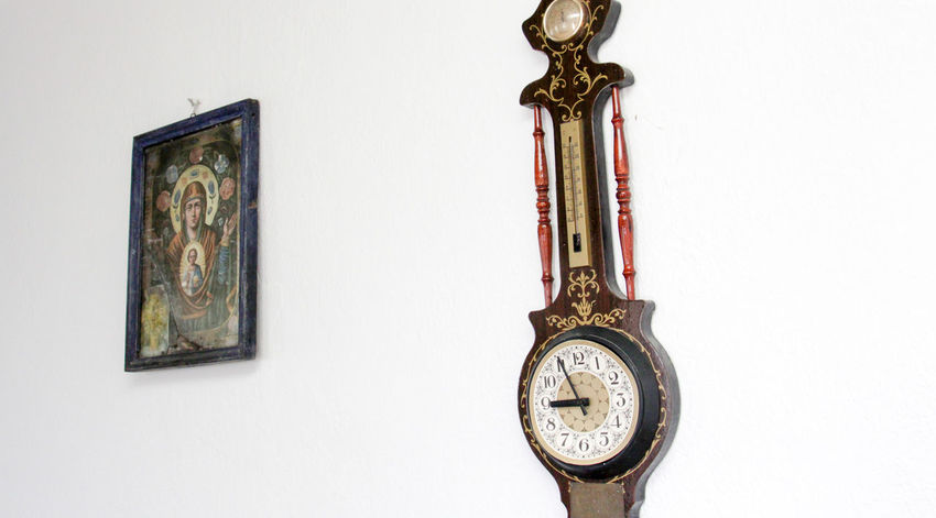 Holly Mother Of God Orthodox Icon Antique Clock Clock Face Close-up Day Fresco Hanging Indoors  Minute Hand No People Old-fashioned Religion Studio Shot Thermometer Time Wall Clock White Background