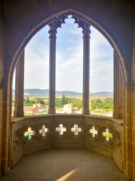Olite SPAIN Navarra Architecture Castle Arch Old Buildings Sky King Columns Stone Landscape Summer Views Balcony Balcony View Palace Village Countryside Mountains