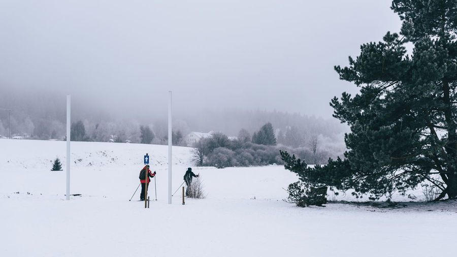 Adult Beauty In Nature Cold Temperature Day Fog Landscape Leisure Activity Nature Outdoors People Scenics Ski Snow Snowing Tree Weather Winter