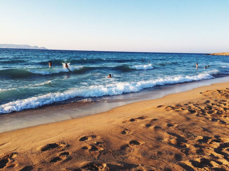 Beach Swimming Wave Water Horizon Over Water Blue Tranquility Leisure Activity Greece Crete Ocean View Ocean Beauty In Nature Sky