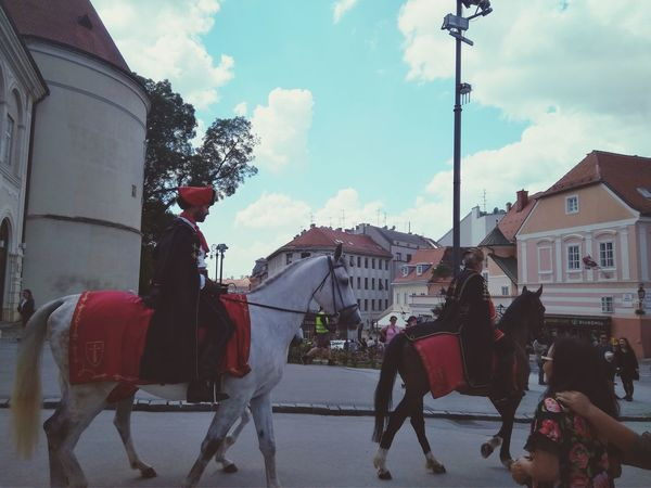 Sreetphotography Man And Horse Army National Guard Zagreb, Croatia Zagreb Tak Imam Te Rad Zagreb Cathedral Tradition Nacional Treasure Arts Culture And Entertainment Happiness Sky Horseback Riding Working Animal