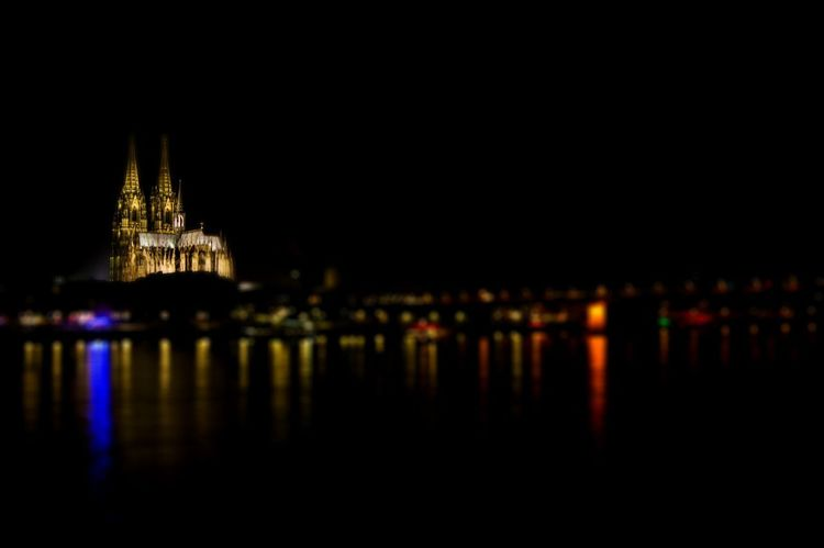Cologne Dom Cathedral at night Cologne Köln Kölner Dom Cathedral Nightphotography Rhine River Rhine Architecture Building Exterior Built Structure City Dark Dom Cathedral Illuminated Night Nightlife No People Place Of Worship Reflection River Sky Tourism Travel Travel Destinations Water Waterfront