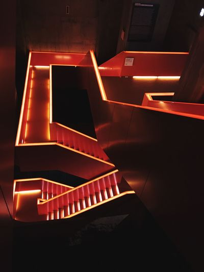 Ruhrmuseum - Orange IPhoneography Museum Indoors  Staircase High Angle View Steps And Staircases No People Illuminated #urbanana: The Urban Playground Architecture Arts Culture And Entertainment Lighting Equipment Building