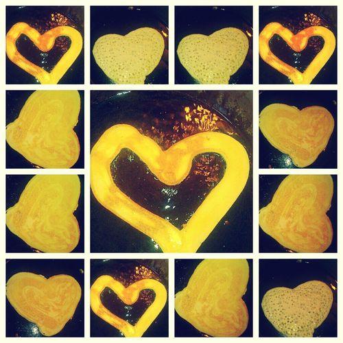 The heart shape pancakes I made mama.