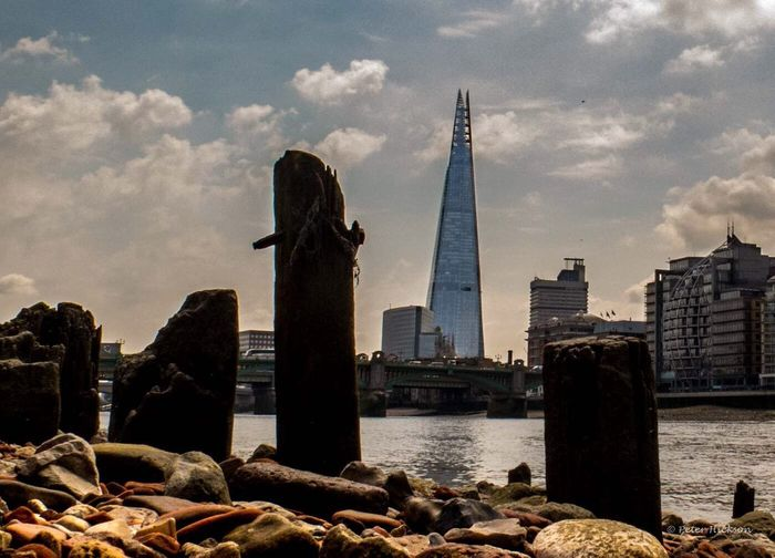 London Shard from the beach on the river Thames at low tide London Thames River London Bridge London Architecture Shard