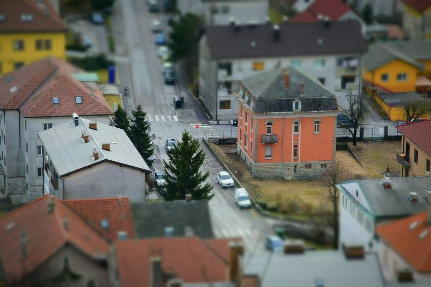 Picture off my small town:) Hometown Postojna City Outdoors Miniature Effect Architecture People Fromabove Street Houses Buildings Smallcity Like4like Follow4follow Close-up Outside Zoom In