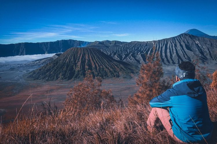Man sitting on plants against mountains