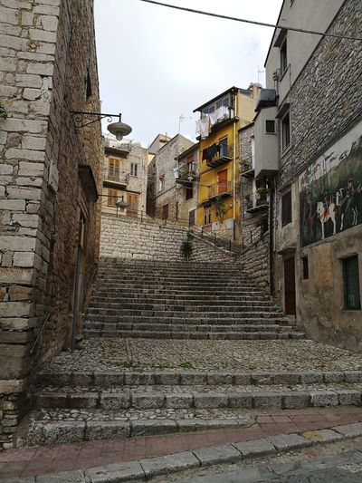 City view caccamo Sicily Sicily, Italy Caccamo City Sky Architecture Building Exterior Built Structure Steps And Staircases Cobblestone Cobbled The Way Forward Staircase Stairs Stairway Spiral Staircase Steps Alley vanishing point Empty Road Pathway