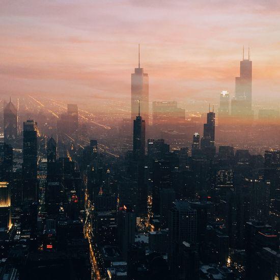 Chicago MidWest Double Exposure Skyline Sunset Multiple Layers Urban Urban Landscape The Architect - 2016 EyeEm Awards