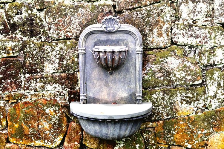 Fountain Patina Nature Texture Rustic Rusty Stone Wall