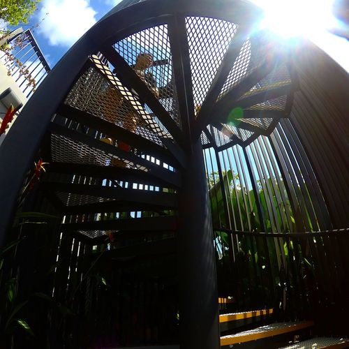 Architecture Low Angle View Sky Day Modern Spiral Spiral Staircase Spiralstaircase Spiralstair Sunny Day Sunnyday☀️ Thursday Afternoon  Hot Day Blue Architecture Peoples People And Places Close-up Gopro5