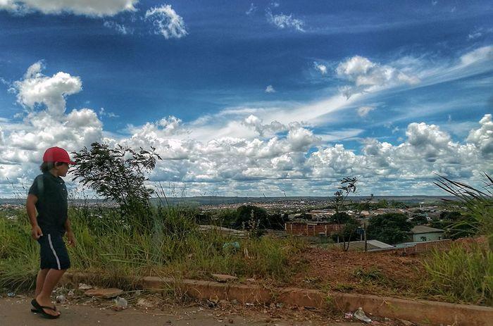Full Length Men Water Tree Rear View Field Sky Cloud - Sky