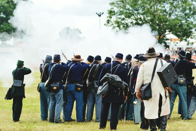 Reenactment Civil War Re-enactments American Civil War North Versus South Main Arena Days Out Gun Fire Smoke Battlefield Bloxham Steam Rally