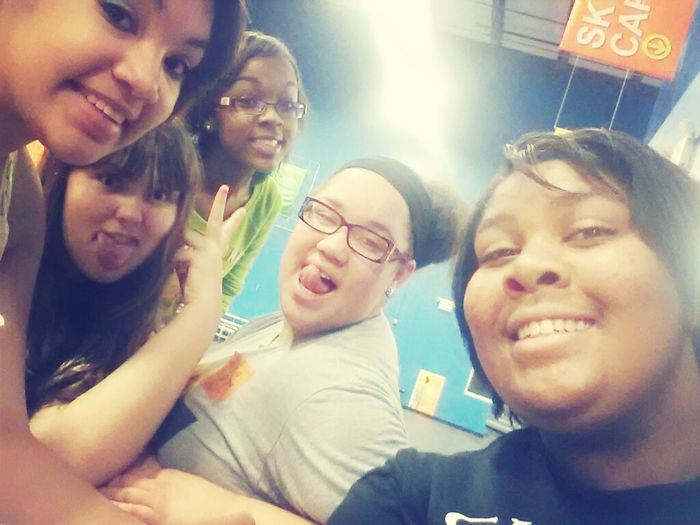 w/ my girls at Skyzone . Breaktime