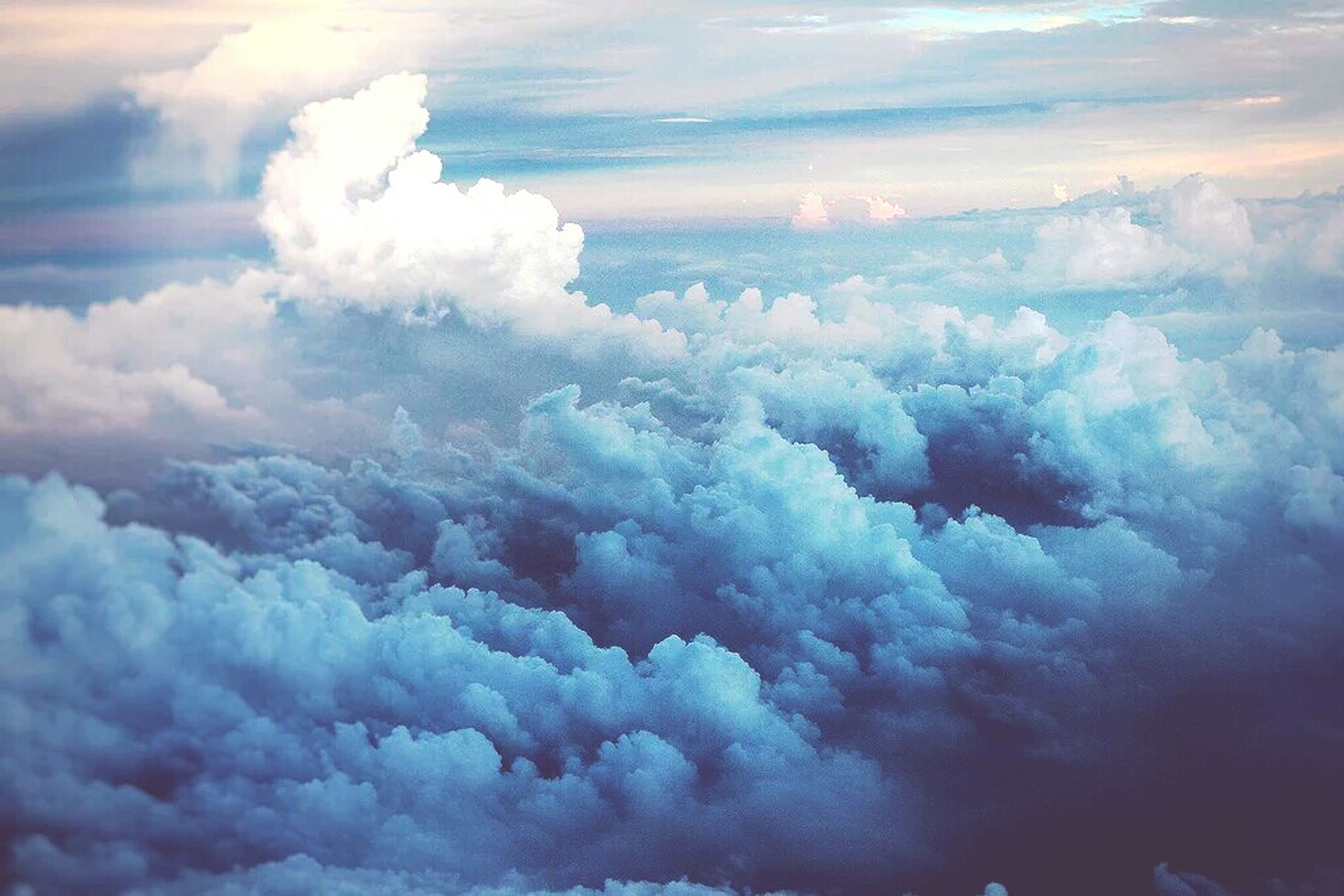 scenics, beauty in nature, cloud - sky, sky, nature, weather, tranquil scene, tranquility, cloudy, cloudscape, white color, idyllic, majestic, cloud, aerial view, no people, sky only, outdoors, cold temperature, day