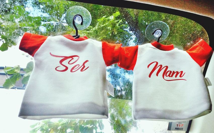 Car Decor Car Decoration Small Shirt Couple Shirts Text Day No People Outdoors Tree Close-up