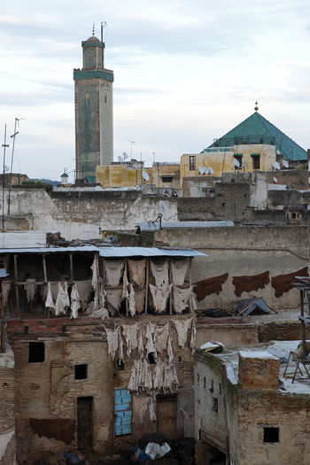 Architecture Building Exterior Built Structure Business Finance And Industry City Day Dyeing Fes, Morocco Leather Leather Craft No People Outdoors Sky Tannery Travel Travel Destinations Travel Photography