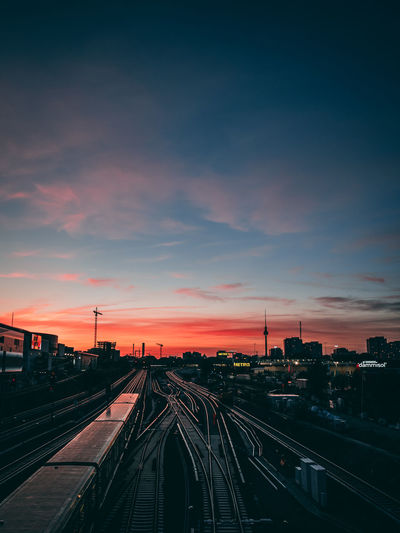 Architecture Building Exterior Built Structure City Cloud - Sky High Angle View Mode Of Transportation Nature No People Orange Color Outdoors Public Transportation Rail Transportation Railroad Track Sky Sunset Track Train Train - Vehicle Transportation EyeEmNewHere Moments Of Happiness