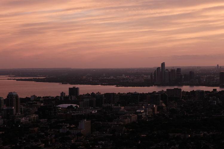 Sunset of downtown toronto