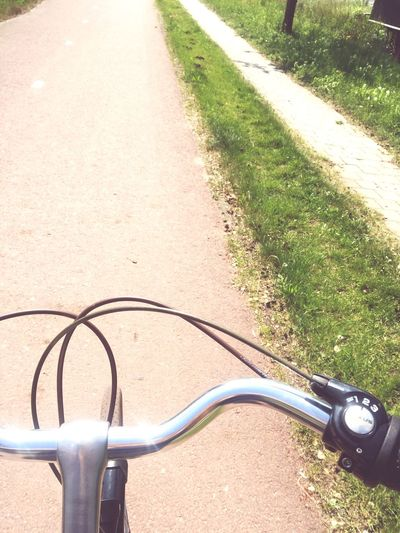 Bike ride in the Netherlands Fietspad Netherlands Bike Sunlight Nature Day Shadow Handlebar High Angle View No People