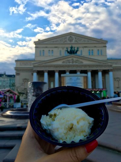 Ice Cream with Blue Cheese) Big Theatre Bolshoi Theater Close-up Cloud Eating Focus On Foreground Food Freshness Frozen Food Ice Cream In My Hand Lifestyles Moscow Moscow Ice Cream Festival Moscow Life Outdoors Personal Perspective Ready-to-eat Serving Size Hand