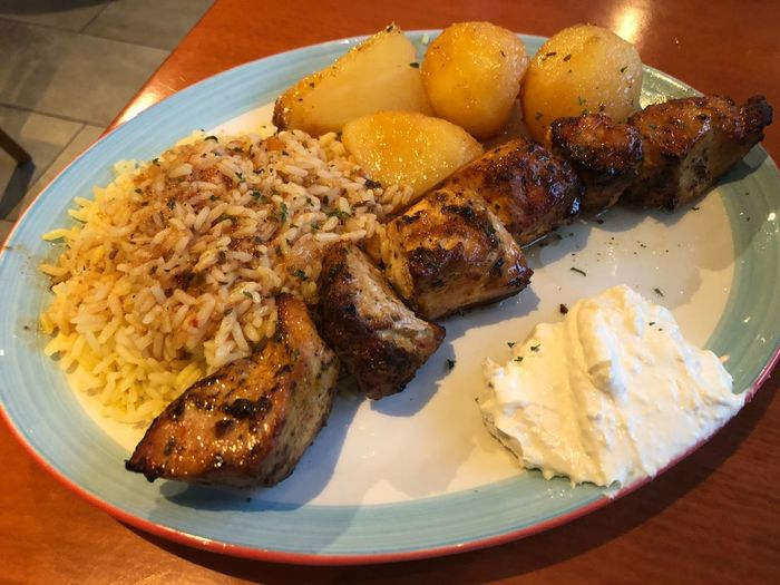 Chicken souvlaki Food Stories Foodspotting Food And Drink Food Plate Ready-to-eat Serving Size Indoors  Freshness