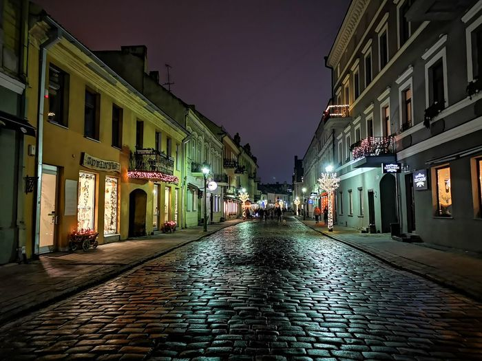 City Illuminated Politics And Government Sky Architecture Building Exterior Built Structure City Gate Cobblestone Neo-classical Old Town Pediment The Way Forward vanishing point Diminishing Perspective