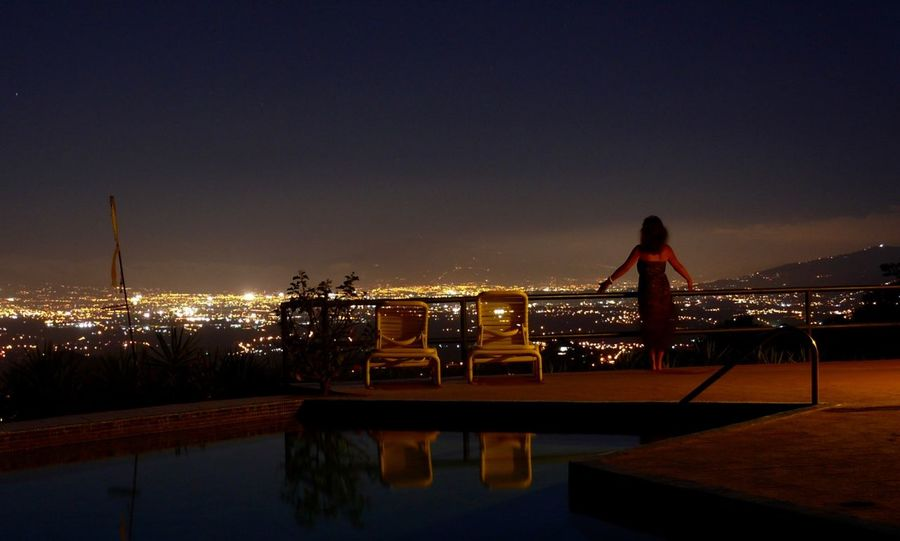 Spectacular view of the Meseta Central, Costa Rica's agricultural and industrial heartland. City City Life Cityscape Illuminated Nature Night One Person Only Women Outdoors People Poolside Scenics Tranquility Travel Destinations Vacations Water