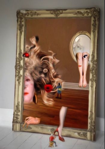 """ The secret club of the damaged."" Mirror Surrealism Body Part HEAD Legs Colorful Flowers Painters People Eye4photography  EyeEm Gallery EyeEm Surreal Photography Photo Gallery Limassol Cyprus Paint"
