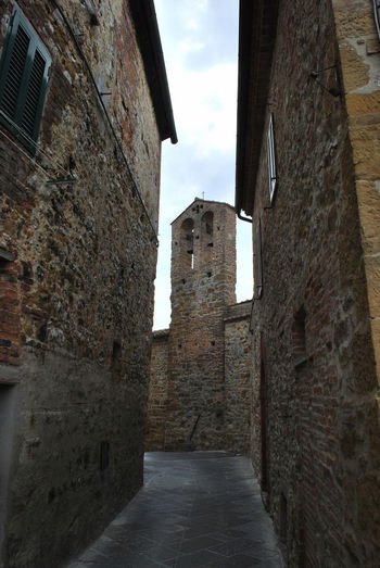 Alley in Petroio, a little medieval village - Trequanda, Siena, Italy. Alley Architecture Bell Tower Building Exterior Built Structure Cloud - Sky Day History Medieval No People Outdoors Petroio Siena Town Trequanda Tuscany Urban Village