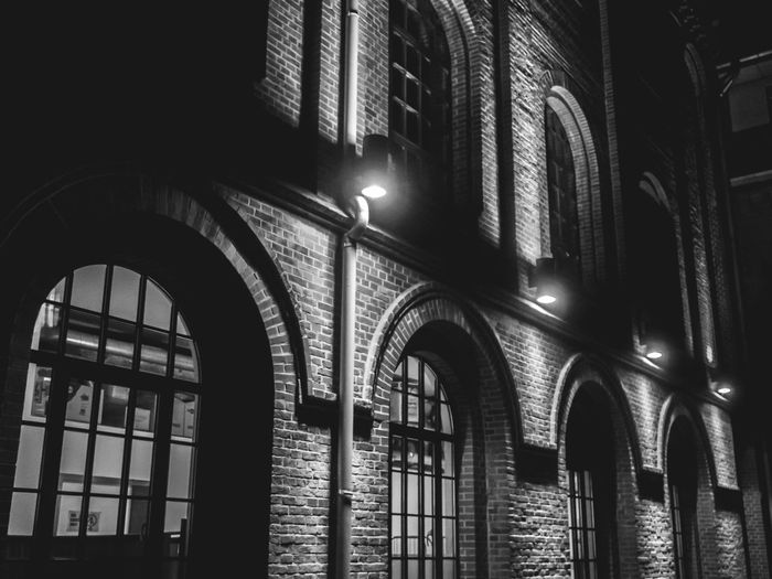 clincer arch fassade Arch Architecture Black And White Photography Built Structure Bw Clinker Fassade Darkness And Light Industrial Lantern Night No People