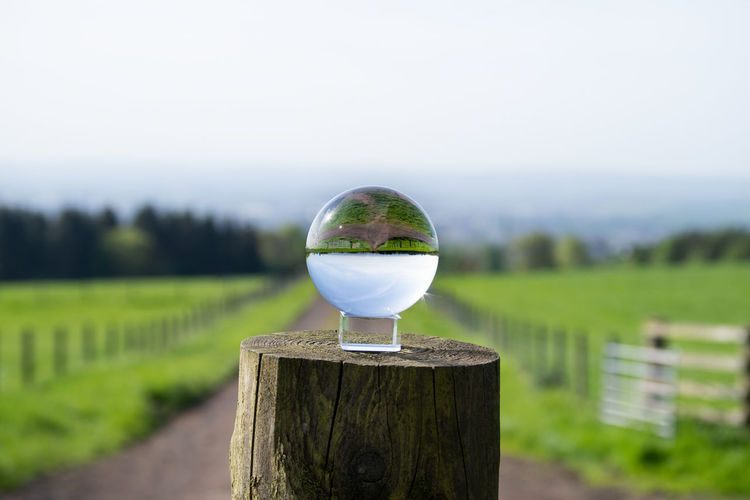 Our Upside Down World Orbphotography Landscapephotography Glass Orb Orb EyeEm Selects Tree Water Rural Scene Sky Close-up Grass Landscape Wooden Post Growing Grass Area