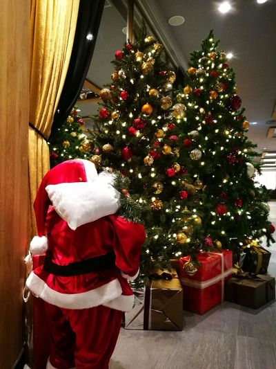 Christmas Christmas Tree Celebration Christmas Decoration Holiday - Event Tree Tradition Christmas Present Santa Hat Cultures Gift Christmas Ornament Celebration Event Indoors  Christmas Lights One Person People Red One Man Only
