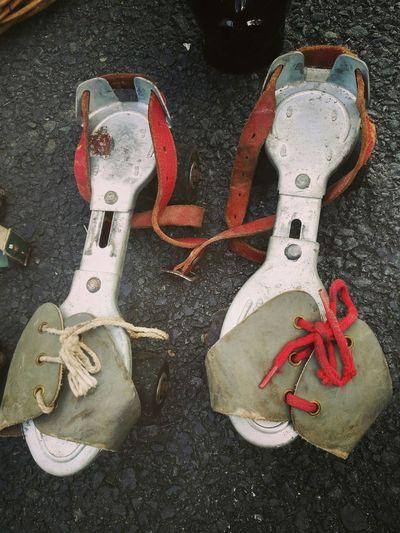 Retro Vintage Skates Close-up Outdoors