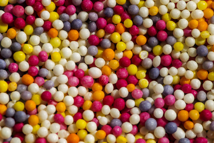 High angle view of multi colored candies