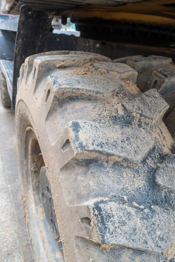 High angle view of tire tracks in car