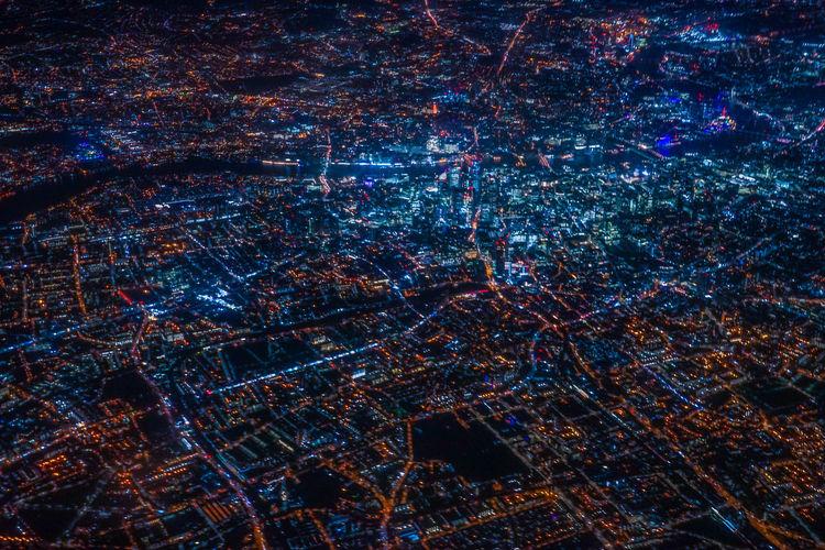 Full frame shot of illuminated building at night
