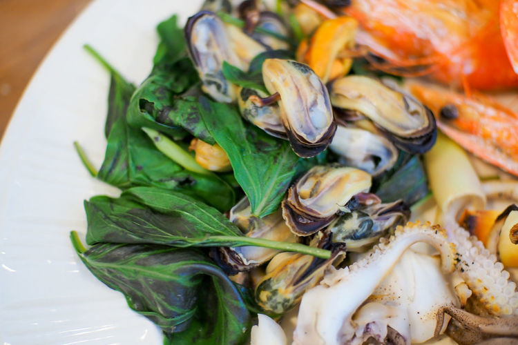 Close-up of seafood with leaf vegetable in plate