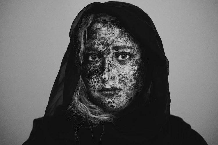 Portrait of woman with spooky make-up