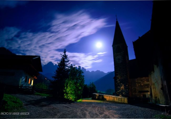 Church by night! Architecture Building Exterior Built Structure Tree Sky Tranquil Scene Tranquility Night Scenics Illuminated Lens Flare Blue Cloud - Sky Cloud Mountain Outdoors The Way Forward Growth Dark Nature Sunsetlover Moon Fullmoon