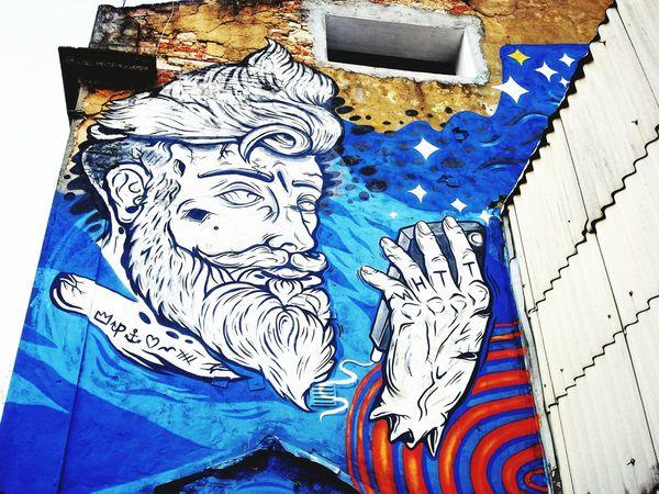 Phone Day Close-up No People Outdoors Text Graffiti Art Street Art Lisbon, Portugal LxFactoy Colors Multi Colored Blue Wht Symbols Symbol Street Photography Streetart Streetphotography