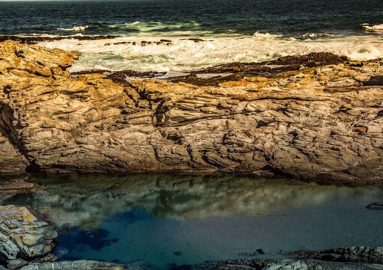 Reflection of rocks in sea