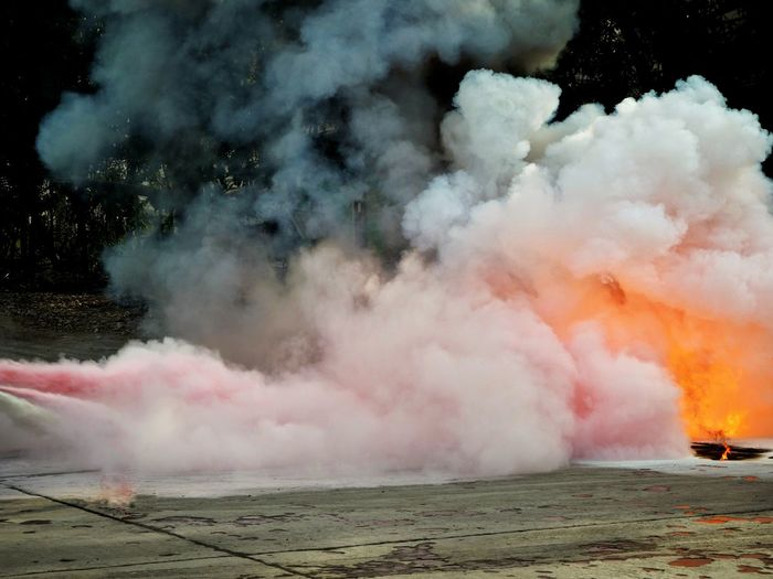 Fire fighting with the fire extinguisher Explosion Burn Hot Fire Extinguisher Fire Fighting Smoke Dry Chemical RISK Accidents And Disasters Steam Hot Spring Smoke - Physical Structure Heat - Temperature Water Landscape Bonfire Heat