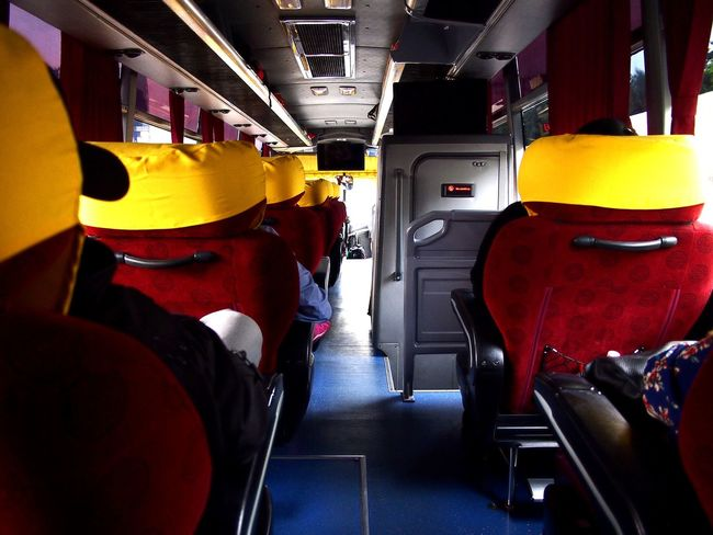 interior of a passenger bus Wheel Drive Bus Vehicle Vehicle Interior Vehicle Seat Bus Seats Travel Transportation Passenger Commute Commuter Ride Public Transportation Double-decker Bus