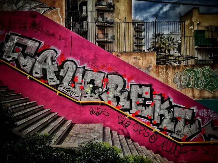 Close-up view of graffiti