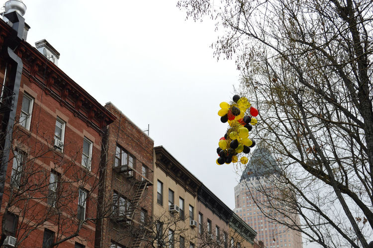 Hell's Kitchen, NY Baloons Black Buildings Buildings & Sky Built Structure Cloud - Sky Cloudy Day Cloudy Sky Gray Sky Hells Kitchen  New York New York, New York Park Red Sky Tree Yellow