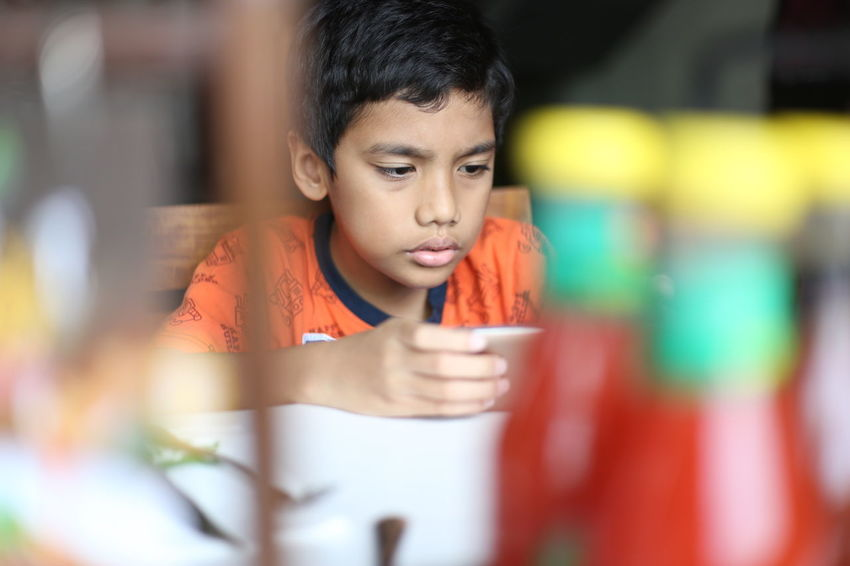 A 8 years old Indonesian boy playing game through a smart phone in a kitchen 8 Years Old Boy Child Childhood Color Image Connection Convenience Domestic Life Fun Gamer Horizontal INDONESIA Indoors  Kitchen Leisure Activity Looking Males  Mobile Phone One Boy Only One Person People Photography Playing Smart Phone Video Games
